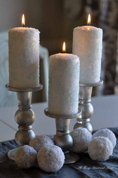 Epsom salt candles - simply brush on modge podge then sprinkle on the epsom salts. (The candles shown have a bit of blue food coloring).