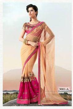 Beige net party wear saree with dhupian designer blouse