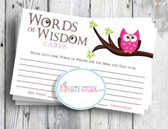 Girl Baby Shower Game, Words of Wisdom Advice Cards,
