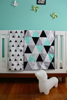 custom feather chevron triangle quilt by iviebaby on Etsy (would want royal blue instead of aqua)