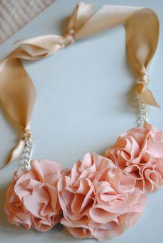 ribbon necklace.