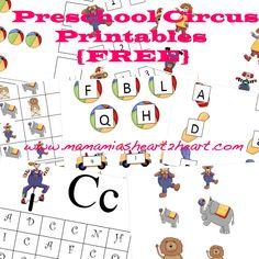 Mama Mia's Heart2Heart: Preschool Circus Printables (FREE)