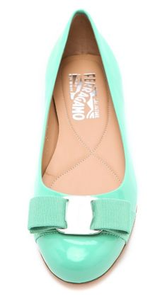mint patent leather bow flats
