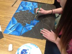The sixth graders loved this project, all of them!! We learned about Louis Comfort Tiffany and history of stained glass, showed a ppt of examples, and they dove in!