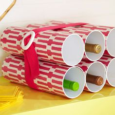 Use PVC pipe to make an inexpensive bottle rack! Get instructions here: http://www.bhg.com/decorating/do-it-yourself/accents/diy-storage-for-every-room/?socsrc=bhgpin113012bottlerack#page=19