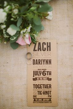 burlap wedding invite http://www.weddingchicks.com/2013/10/17/simple-sweet-wedding/
