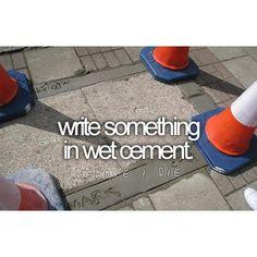 bucketlist, wet cement, buckets, first house, die