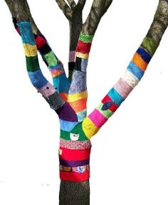 knit-knot-for-mag1 art color, color art, knit crochet, yarn bombing, color tree, art idea, knitting, painted trees, crafti idea
