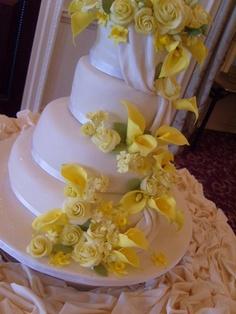 Calla lily and roses drape wedding cake