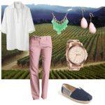 white tunic and pink chinos