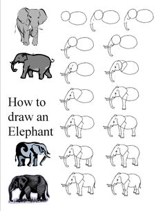 How to draw an elephant. I see a nice watercolor painting here of an African sunset with an elephant silhouette.