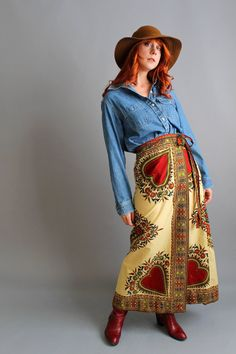 Vintage Cream & Burgundy Maxi Wrap Skirt