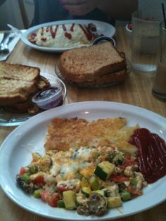 Veggie Scramble & Hash Browns w/ Apple Cinnamon Bread baked fresh @ Sweetie Pies