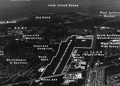 Stony Brook University is nestled on the north shore of Long Island in the historic area known as the Three Villages, located approximately sixty miles west of Manhattan. This aerial photograph, taken in 1990, includes notation of the West and East campuses, which encompass more than eleven hundred acres along Nicolls Road (credit: University Archives, Stony Brook University).