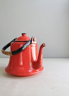 Red enamel tea kettle