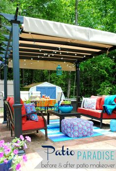 A revamped patio with new outdoor furniture + a Pergola.  This new space is surrounded by flowers & the sounds of water from a small pond.  ...