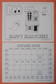 October calendar to print up and color. You have the option of adding birthdays/holidays. Free download from 1 - 2 - 3 Learn Curriculum
