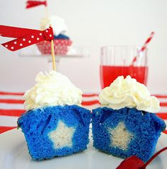 Hidden star inside fourth of july red white and blue cupcake recipe and turorial by Askanam