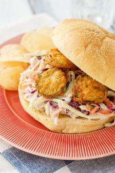 Summer Slaw Sandwiches with Fried Pickles from @LoveAndOliveOil | Lindsay Landis | Lindsay Landis