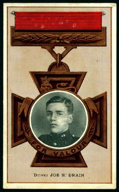 Driver Job Henry Charles Drain VC (15.10.1895|26.7.1975) 37th Battery, Royal Field Artillery. On 26.8.1914 at Le Cateau, France, when a captain (Douglas Reynolds) of the same battery was trying to recapture 2 guns, Driver Drain and another driver (Frederick Luke) volunteered to help + gave great assistance in the eventual saving of 1 of the guns. At the time they were under heavy artillery + infantry fire from the enemy who were only 100 yards away.