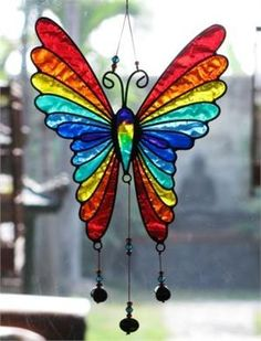 primary colors, shop, glass butterfli, sun catcher, beads, papillon, stain glass, rainbow colors, stained glass