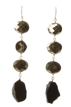 Holiday Party Jewelry: Gemstone Slice Earrings: pyrite and black spinel slice I Top gift for Holiday
