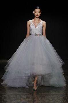 A hi-low blue Lazaro wedding dress! Doesn't it remind you of Cinderella? (Photo: Dan Lecca)