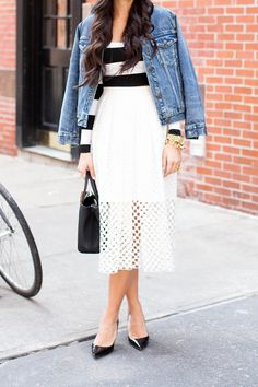 Blogger With Love from Kat in the Tibi Sonoran eyelet skirt