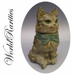 Darling  Antique French Cat Scent Casket Inkwell
