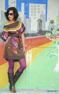 Kimono Mod Dress  rainbow color blocking Pattern in by lilybrush, $89.00