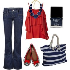 Love this! jean, fourth of july, fashion styles, red white blue, outfit, necklac, 4th of july, shoe, shirt