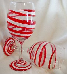 Candy Cane Red & White Swirl Hand Painted Glass set, wine glass. $17.00, via Etsy.