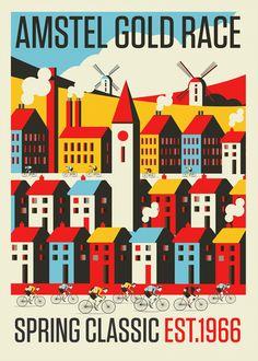 Spring Classic Cycling Prints by Neil Stevens, via Behance