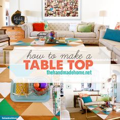 A #coffee #table top refresh can bring new life to the whole room. This #DIY table top uses Product of the year winner #Cabot Premium #Wood Finish #Stain + Sealer in Cinnamon Toast as a gorgeous backdrop for a #pattern of fun #colors.