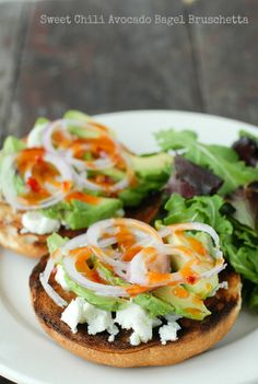 Sweet Chili Avocado Bagel Bruschetta | Boulder Locavore {#glutenfree if GF bagels are used}