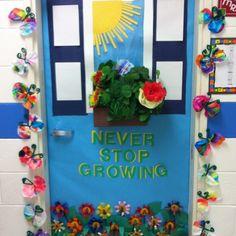teacher doors, classroom door, decorating ideas, bulletin boards, garden theme, flower decorations, door decorating, classroom ideas, board idea
