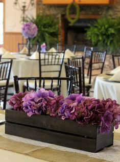 Purple & Green Wedding {My Sister's Wedding} Easy DIY Wedding Centerpiece from a CD crate by PartiesforPennies.com #wedding #weddingcenterpiece #diy