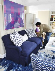 navy blue sofa Living Room Makover Decorating Ideas - Living Room Before and After Pictures - House Beautiful