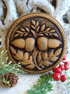 Primitive Springerle Double Acorn Blackened Beeswax Christmas Ornament