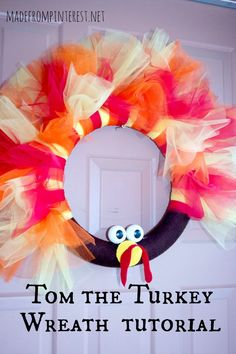 Create this darling turkey wreath to greet your Thanksgiving guests when they arrive!  From MadeFromPinterest.net