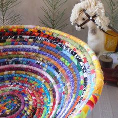 Coiled Basket  Gypsy  LARGE by YellowViolet on Etsy, $45.00