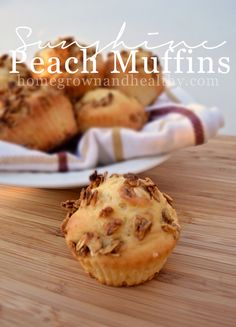 Sunshine peach muffins! Made with oats, greek yogurt and fresh peaches then topped with granola!