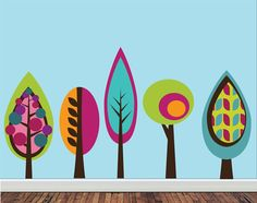 REUSABLE Tree Wall Decal - Set of Five Tree Decals
