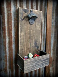 Beer Bottle Opener and Cap Catcher - Brown. Great for a bar room/man cave! I like the throwback look