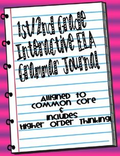 First Grade Interactive ELA Grammar Journal, Common Core- Higher Order Thinking! Foldables Lapbooks AWESOME!!! JUST What I need to HOOK my students!!!!! Love IT!!