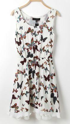 White Sleeveless Butterfly Print Frill Hem Dress