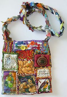 make art, purs, fabric postcards, mini quilts, crazy quilting, gorgeous bag, teesha moor, quilted totes and bags, patchwork bags