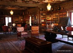 In one of the grand private libraries of the castle, celebrities such as Groucho Marx, would move furniture around and play games to unwind
