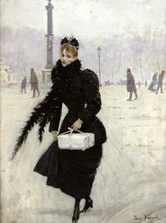 Parisian woman in the Place de la Concorde  by Jean Beraud, 1890
