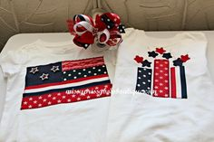 Scrap ribbon & lace July 4th matching brother/sister shirts